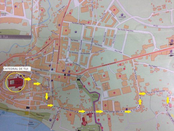 mapa de Tui Camino de Santiago
